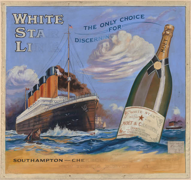 F. Earl Christy, Design for a poster for the White Star Line and Moet & Chandon, about 1912. Oil on canvas. Peabody Essex Museum, Museum purchase, 2014.13.1.