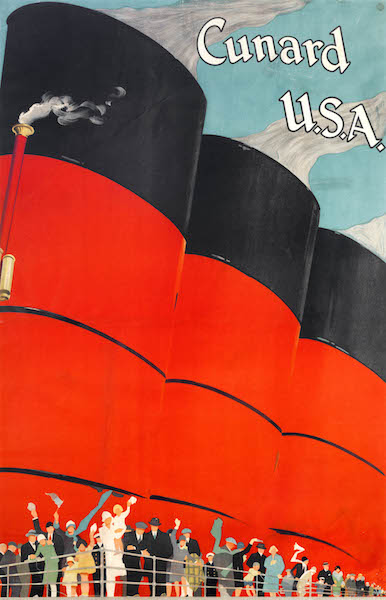 'Cunard Line USA' poster featuring Berengaria, about 1925. Color lithograph. Collection of Stephen S. Lash. Courtesy of Cunard. Photo by Stephen Petegorsky.