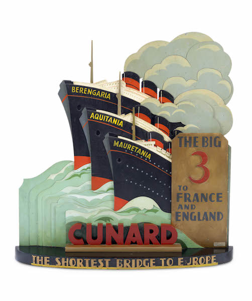 Cunard Desk Sign; Kay of Austria, New York, New York, The Big 3 to France and England. Cunard tourist office sign depicting Berengaria, Aquitania and Mauretania, about 1925. Painted wood. Collection of Stephen S. Lash. © 2016 Peabody Essex Museum. Photo by Stephen Petegorsky