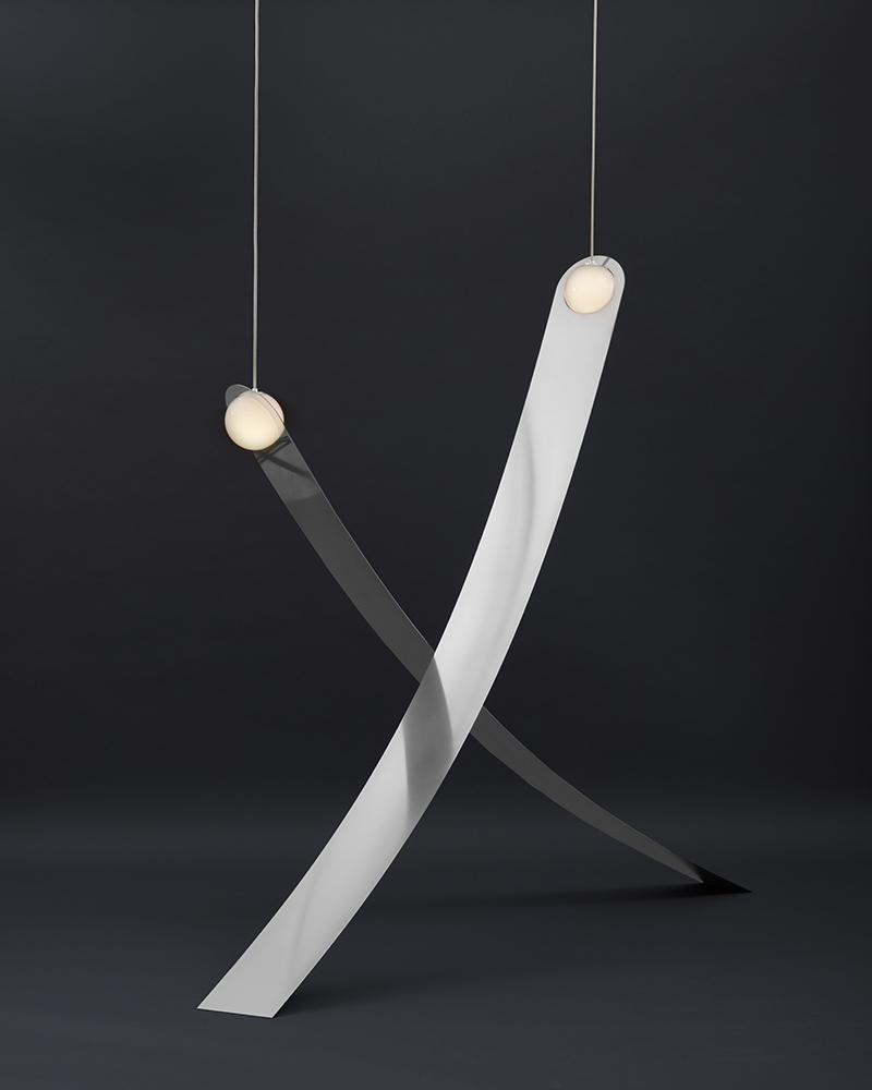 1b. Sculptural lights in brass and blown glass by Lambert & Fils. Galerie Armel Soyer