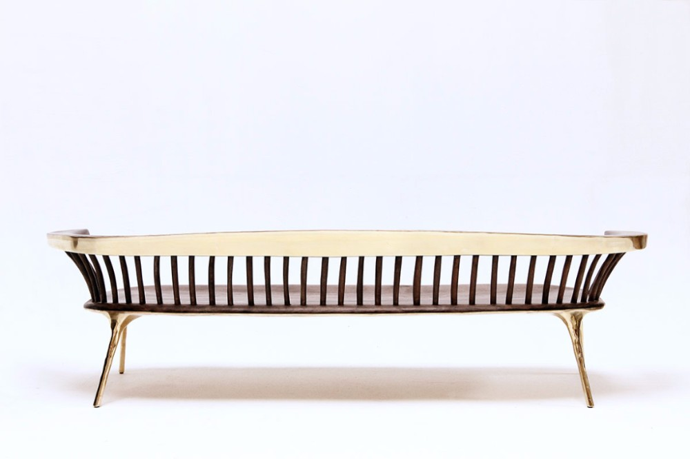 6b. Brass and wood sofa by Valentin Loellman. Galerie Gosserez