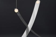 1b. Sculptural lights in brass and blown glass by Lambert & Fils. Galerie Armel Soyer