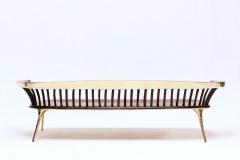 6b. Brass and wood sofa by Valentin Loellman. Galerie Gosserez