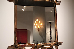 Surrealist mirror in bronze by Victor Roman (1937-1995). Galerie Yves and Victor Gastou.