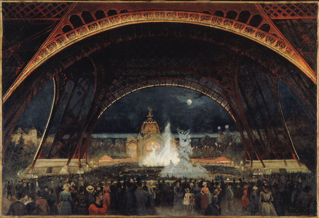 """Gaston Roux. """"Fête de nuit à l'Exposition Universelle en 1889, sous la Tour Eiffel"""". Huile sur toile. Paris, musée Carnavalet."""