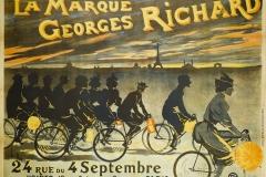 Jean Léonce Burret (1866-1915). Imprimerie G. Bataille. La Marque Georges Richard, 24 Rue du 4 Septembre, Usines: 13 Rue Théophile Gautier. Affiche. Lithographie couleur, vers 1895. Paris, musée Carnavalet.
