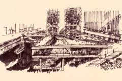 Preview | Download (396.1 KB) Bertrand Goldberg.Marina City, Chicago, Illinois, Perspective Looking West, 1985. The Art Institute of Chicago. The Archive of Bertrand Goldberg, gifted by his children through his estate