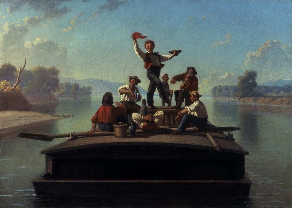 George Caleb Bingham (1811-1879), The Jolly Flatboatmen, 1877-78. oil on canvas. 26 ¼ x 36 ¼ in.Terra Foundation for American Art, Daniel J. Terra Collection, 1992.15.