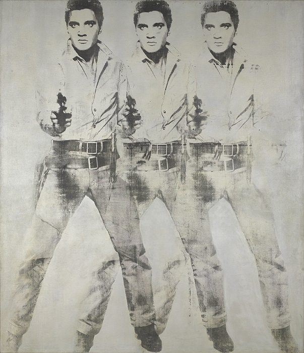 Andy Warhol (1930-1987), Triple Elvis, 1963. aluminum paint and printer's ink silkscreened on canvas. 82⅜ x 71⅛ in. Collection of > Virginia Museum of Fine Arts, Richmond. Gift of Sydney and Frances > Lewis, 85.453. (c) 2017 The Andy Warhol Foundation for the Visual Arts, Inc. Licensed by Artists Rights Society (ARS), New York.