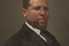 Theodor Kaufmann (1814 – 1896), Portrait of Hiram Rhodes Revels (1822-1901), 1870s. oil on mill board. 12 x 10 in. Transfer from Olin Library, Photography Courtesy of the Herbert F. Johnson Museum of Art, Cornell University, Ithaca, New York. 69.170.