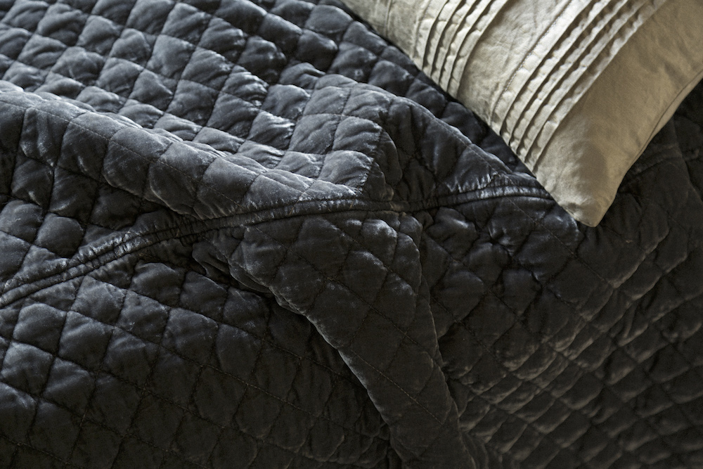 Bella Notte Silk Velvet Quilted Coverlet Detail