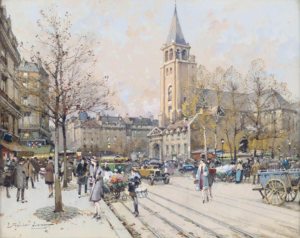 Saint Germain des Prés: Winter Scene Painting