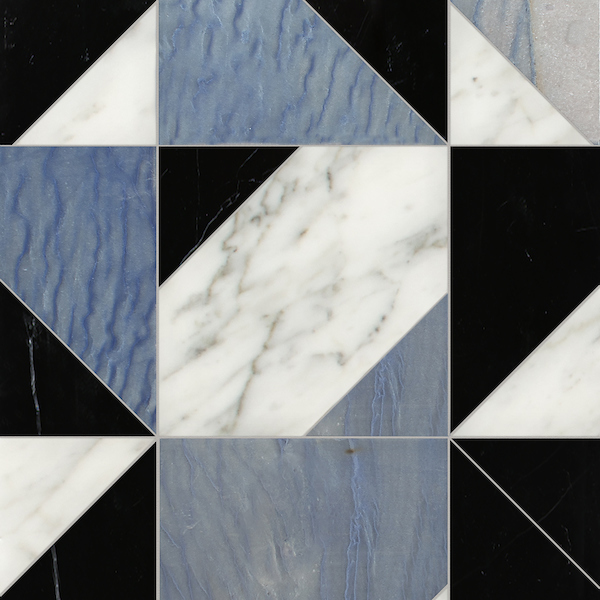 Axel Grand, a hand-cut stone mosaic,shown in polished Calacatta Tia, Nero Marquina, and Blue Macauba, is part of the Semplice™ collection for New Ravenna.