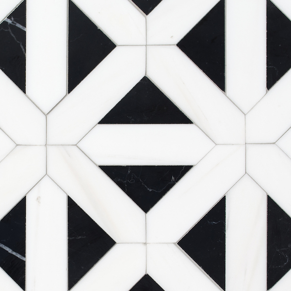 Joie Grand, a hand-cut stone mosaic, shown in polished Nero Marquina and Dolomite, is part of the Semplice™ collection for New Ravenna.