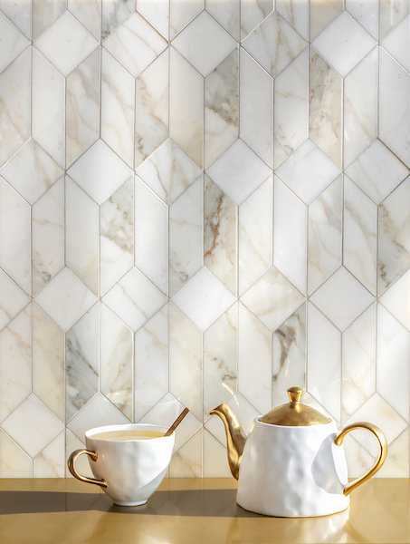 Madison, a hand-cut stone mosaic, show in polished Calacatta Gold, is part of the Semplice™ collection for New Ravenna.