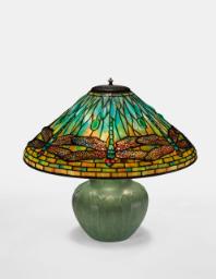 """Lot 33: Tiffany Studios and Grueby Faience Company """"Dragonfly"""" Table Lamp"""