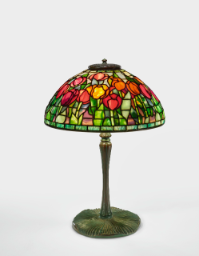"Lot 7: Tiffany Studios ""Tulip"" Table Lamp with a ""Mushroom"" base"