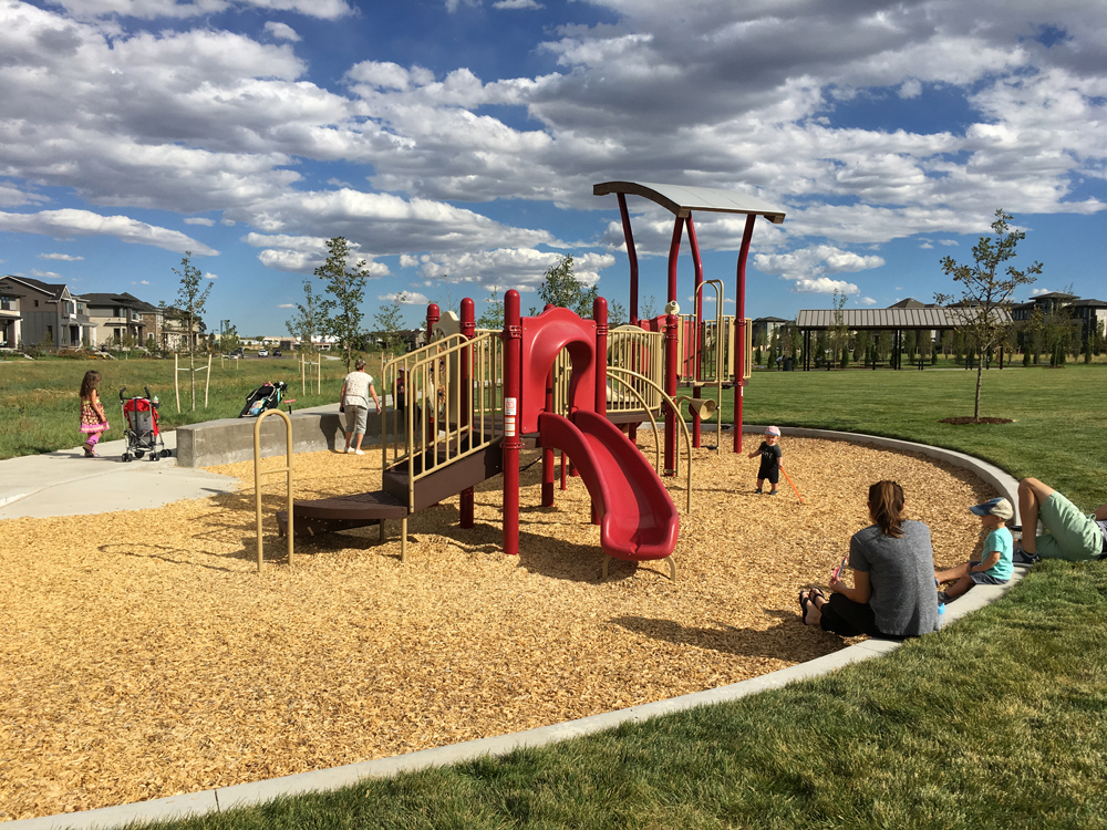 """The largest""""play pod"""" in Cottonwood Gallery scales the play experience down to a child's size through the use of a lowseat wall."""