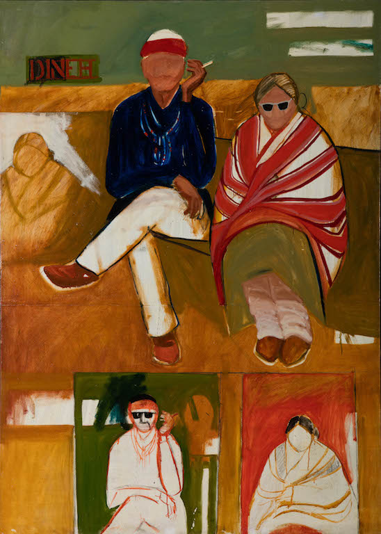 T. C. Cannon (1946–1978, Caddo/Kiowa), Mama and Papa Have the Going Home Shiprock Blues, 1966.Acrylic and oil on canvas. Institute of American Indian Arts, Museum of Contemporary Native Arts, SantaFe, New Mexico. © 2017 Estate of T. C. Cannon. Photo by Addison Doty.