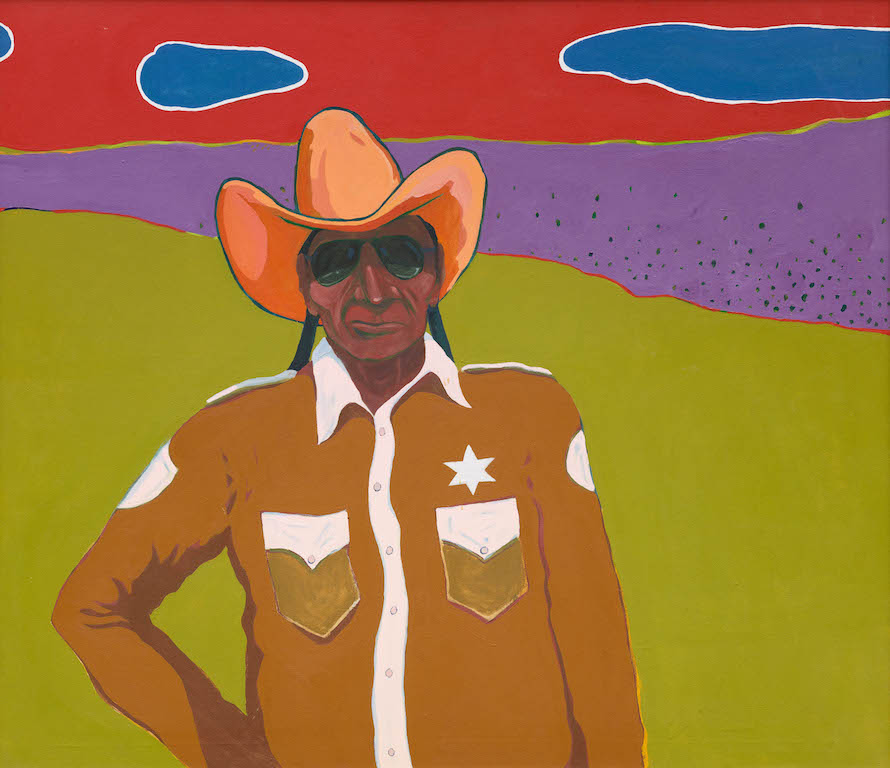 T. C. Cannon (1946–1978, Caddo/Kiowa), Law North of the Rosebud, 1971. Acrylic on canvas. Collectionof Charles and Karen Miller Nearburg. © 2017 Estate of T. C. Cannon. Photo by Brad Flowers.