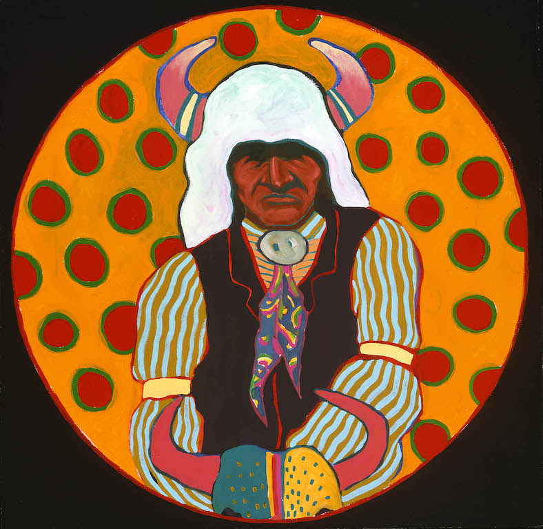 T. C. Cannon (1946–1978, Caddo/Kiowa), Buffalo Medicine Keeper, about 1974. Acrylic and oil on canvas.William E. Weiss Memorial Fund Purchase, Buffalo Bill Center of the West, Cody, Wyoming. © 2017Estate of T. C. Cannon.