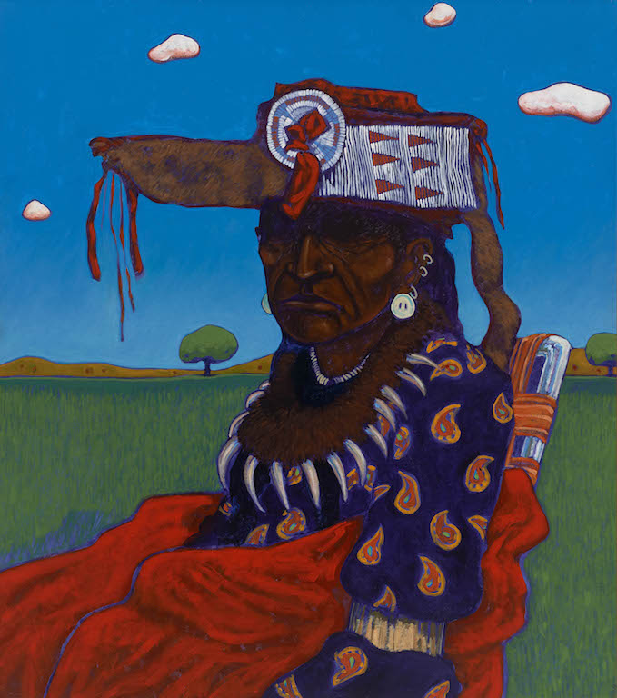 T. C. Cannon (1946–1978, Caddo/Kiowa), Indian with Beaded Headdress, 1978. Acrylic on canvas.Peabody Essex Museum. © 2017 Estate of T. C. Cannon. Photo by Kathy Tarantola.