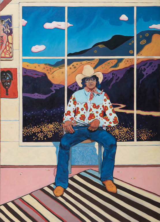 T. C. Cannon (1946–1978, Caddo/Kiowa), Self-Portrait in the Studio, 1975. Oil on canvas. Collection ofRichard and Nancy Bloch. © 2017 Estate of T. C. Cannon. Photo by Addison Doty.