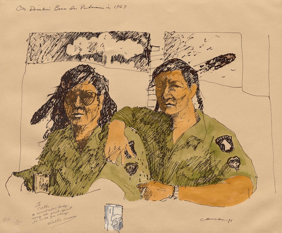 T. C. Cannon (1946–1978, Caddo/Kiowa), On Drinkin' Beer in Vietnam in 1967, after 1978. Lithograph.Private Collection. © 2017 Estate of T. C. Cannon. Photo by Allison White.
