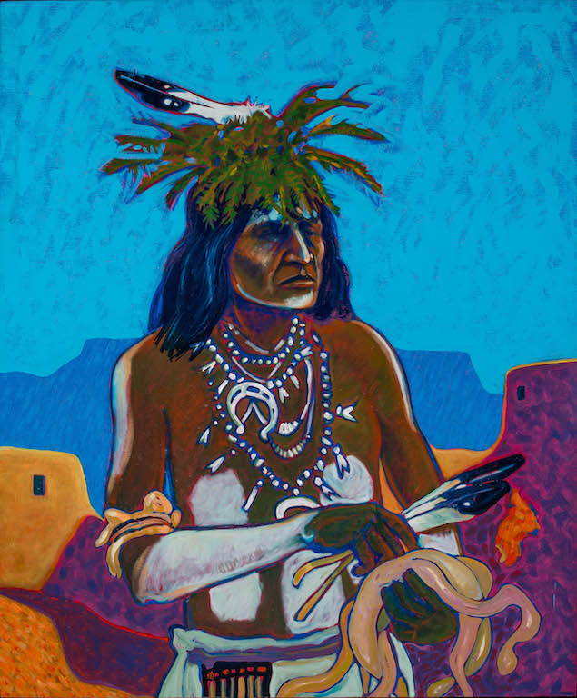 T. C. Cannon (1946–1978, Caddo/Kiowa), Small Catcher, 1973–78. Oil on canvas. Collection of GilWaldman and Christy Vezolles. © 2017 Estate of T. C. Cannon. Courtesy of the Heard Museum, Phoenix,Arizona. Photo by Craig Smith.