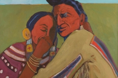 T. C. Cannon (1946–1978, Caddo/Kiowa), Favorite Wife, 1972. Oil on canvas. Collection of GeorgeOswalt. © 2017 Estate of T. C. Cannon. Photo by Carla Cain.
