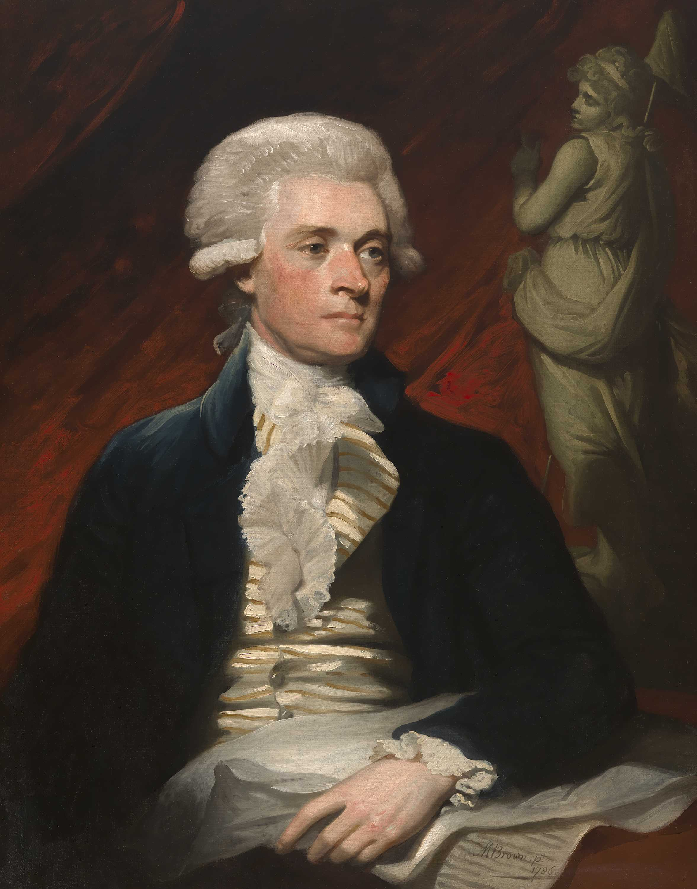 Mather Brown (American, 1761−1831) Thomas Jefferson, 1786 Oil on canvas National Portrait Gallery, Smithsonian Institution; bequest of Charles Francis Adams; Frame conserved with funds from the Smithsonian Women's Committee NPG.99.66