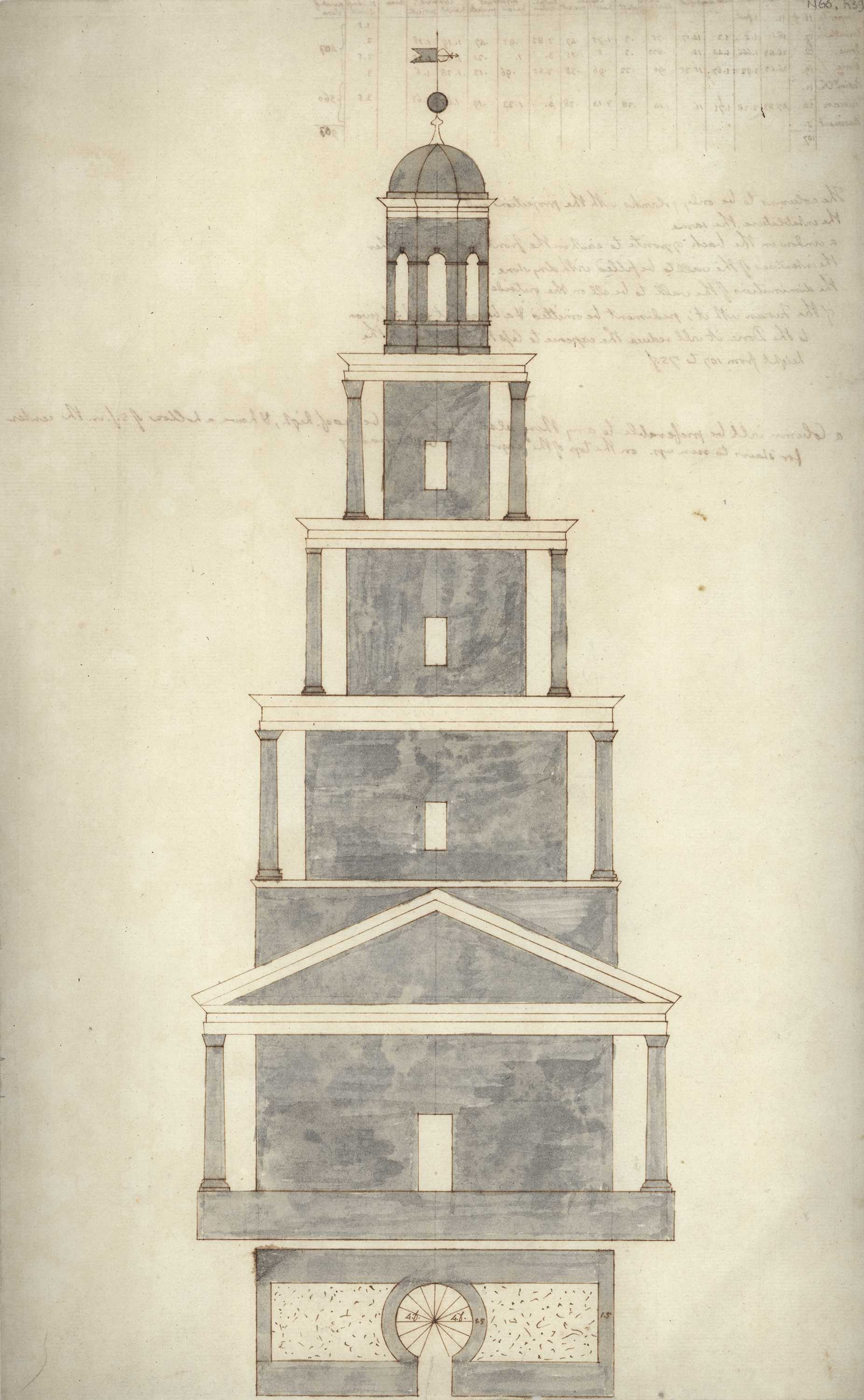 Thomas Jefferson (American 1743–1826) Monticello: Observation tower, recto, ca. 1771 Pen and Ink with gray wash Coolidge Collection of Thomas Jefferson Manuscripts, Massachusetts Historical Society N66:K39