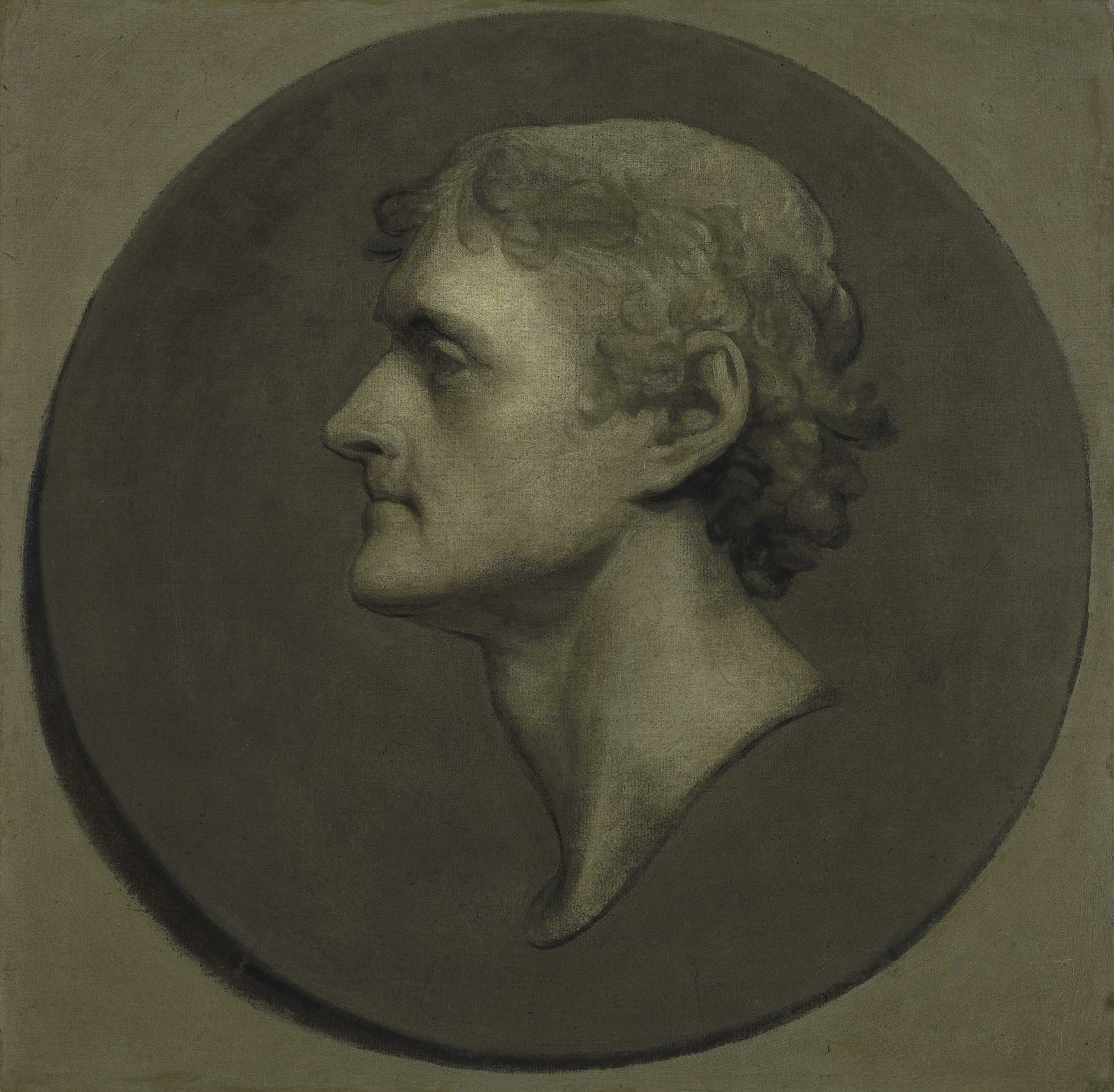 Gilbert Stuart (1755−1825) Thomas Jefferson (The Medallion Portrait), 1805 Grisaille, oil and egg mixture on blue laid paper on canvas Harvard Art Museums/Fogg Museum, Gift of Mrs. T. Jefferson Newbold and family, in memory of Thomas Jefferson Newbold, Class of 1910, 1960.156 Photo: Imaging Department © President and Fellows of Harvard College