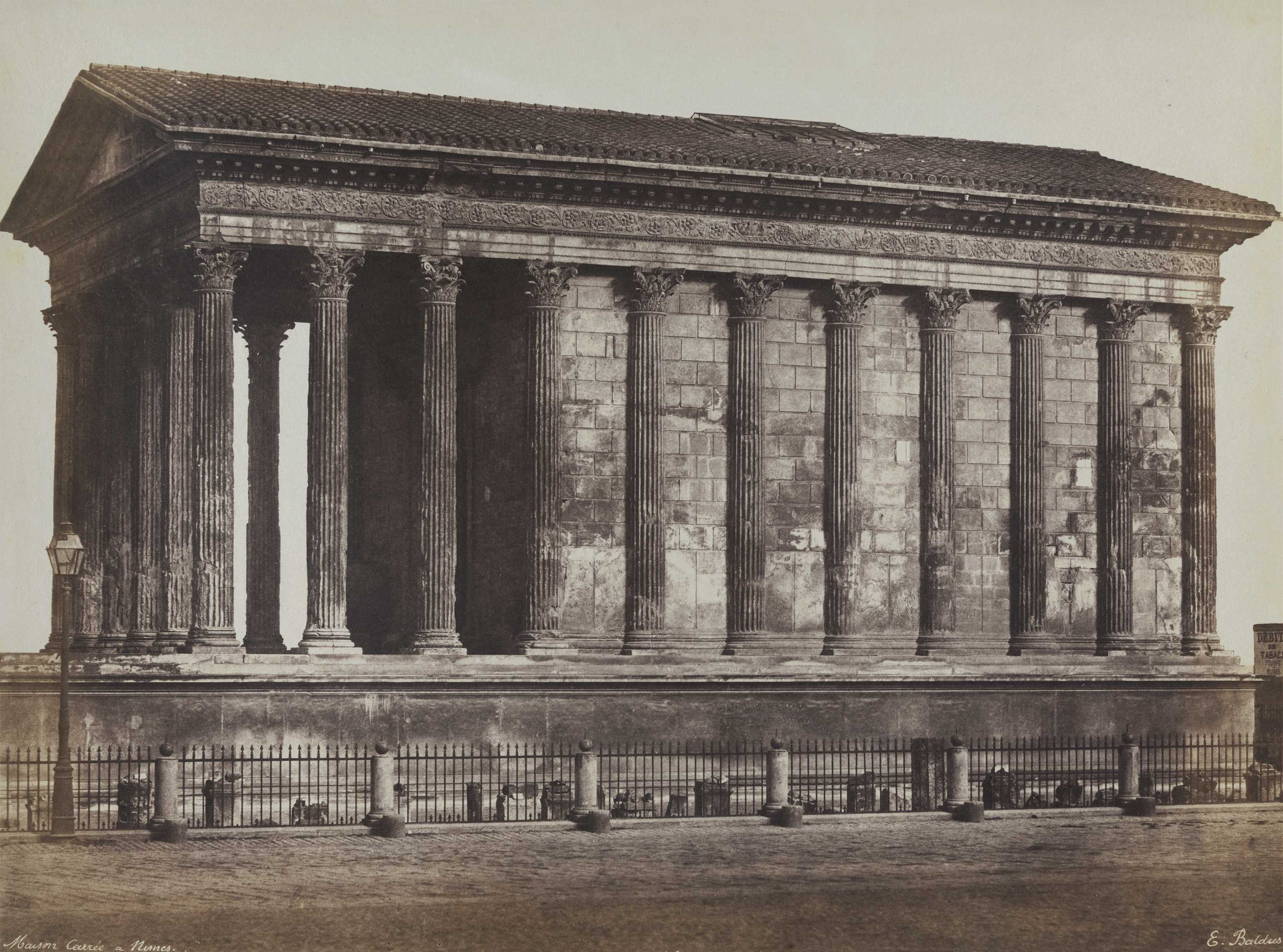 Édouard-Denis Baldus (French, born Prussia, 1813–1889) Maison Carée À Nîmes, 1853 Salted paper print Chrysler Museum of Art, museum purchase in memory of Alice R. and Sol B. Frank 98.9