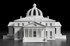 Designed by Simone Baldissini and Mauro Zocchetta Constructed by Ivan Simonato Model of Jefferson's design for the President's House competition (scale 1:66), 2015 Wood, resin, and tempera Centro Internazionale di Studi di Architettura Andrea Palladio, Vicenza