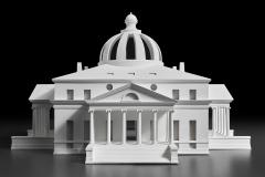 Designed by Simone Baldissini and Mauro Zocchetta Constructed by Ivan Simonato Model of Jefferson's design for the President's House competition (scale 1:66), 2015 Wood, resin, and tempera Centro Internazionale di Studi di Architettura Andrea Palladio, Vicenza