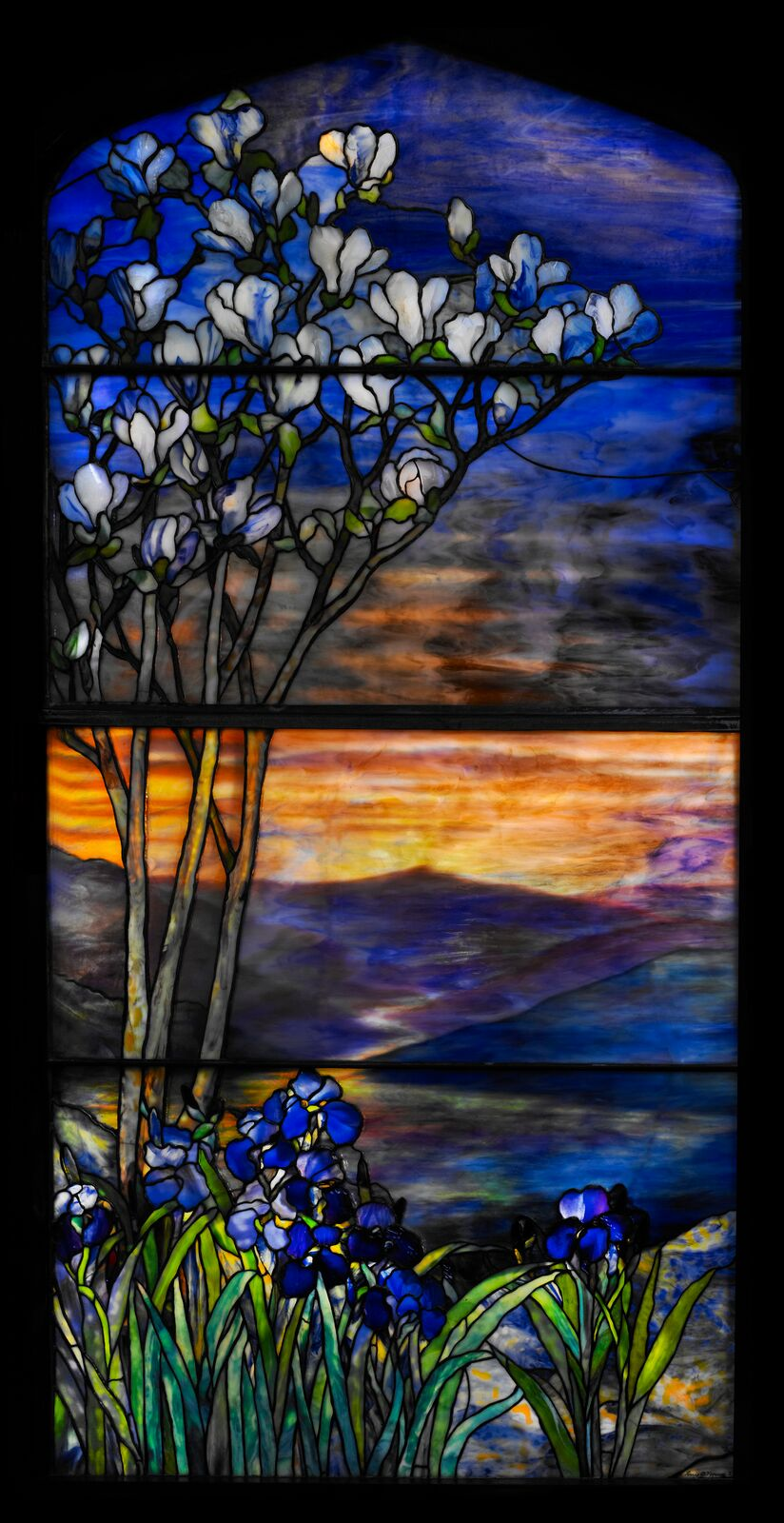 Tiffany Studios, River of Life Window , early 20th century,1900–1910, leaded glass. Photograph by John Faier. © 2013 Driehaus Museum
