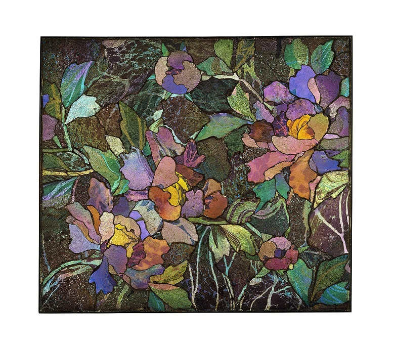 Mosaic panel with peonies, about 1900–1910. Tiffany Glass and Decorating Company or Tiffany Studios.