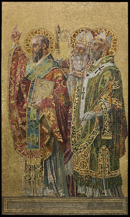 Panel, Fathers of the Church, about 1892. Tiffany Glass and Decorating Company, designed by Joseph Lauber.