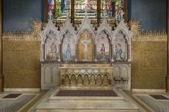 Reredos, 1891. Tiffany Glass Company or Tiffany Glass and Decorating Company, designed by Jacob Adolphus Holzer. St. Paul's Episcopal Church, Troy, New York.