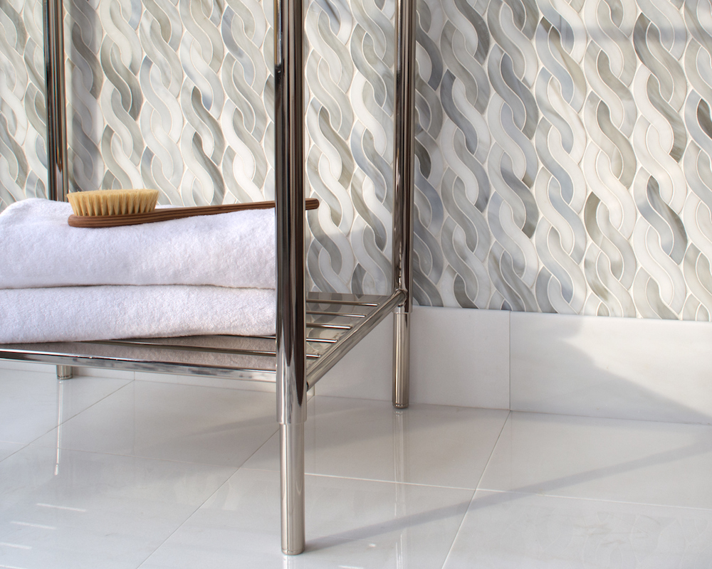 Cable Knit Medium, a waterjet jewel glass mosaic, shown in Alabaster.