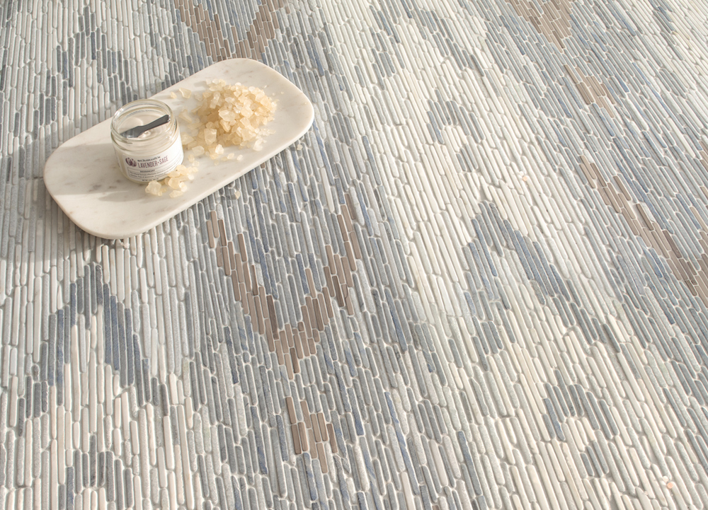Maya, a hand-cut tumbled mosaic, shown in Afyon White, Blue Macauba, Celeste, and Driftwood.