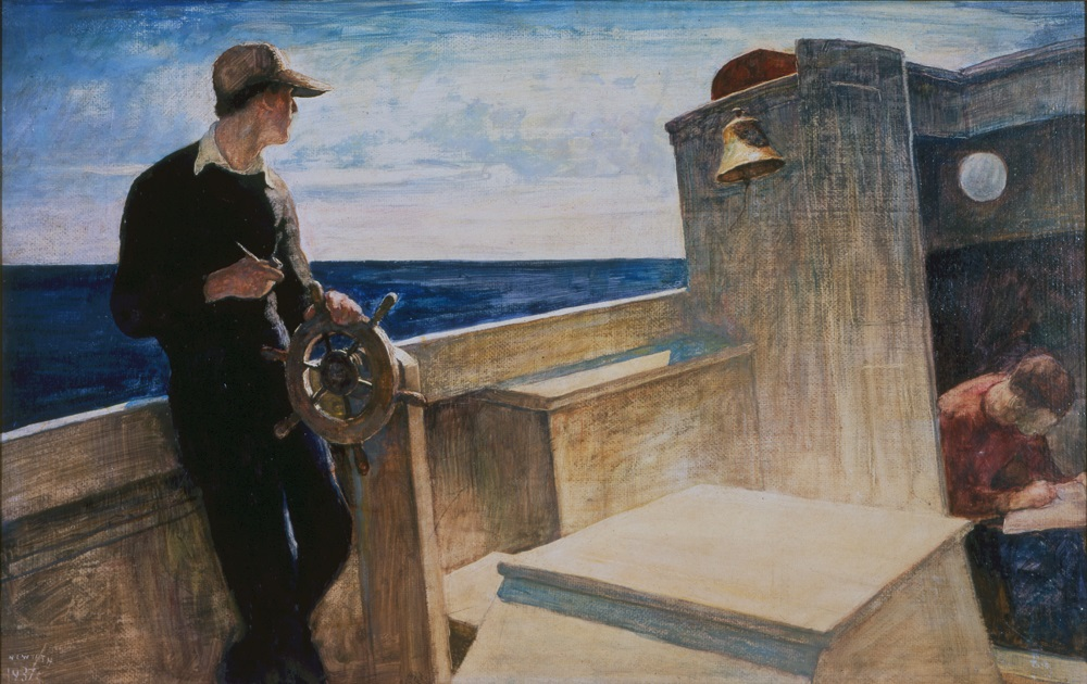 N.C. Wyeth (American, 1882-1945) Eight Bells (Clyde, Stanley and Andrew Wyeth aboard Eight Bells), 1937 Oil on hardboard Bank of America Collection