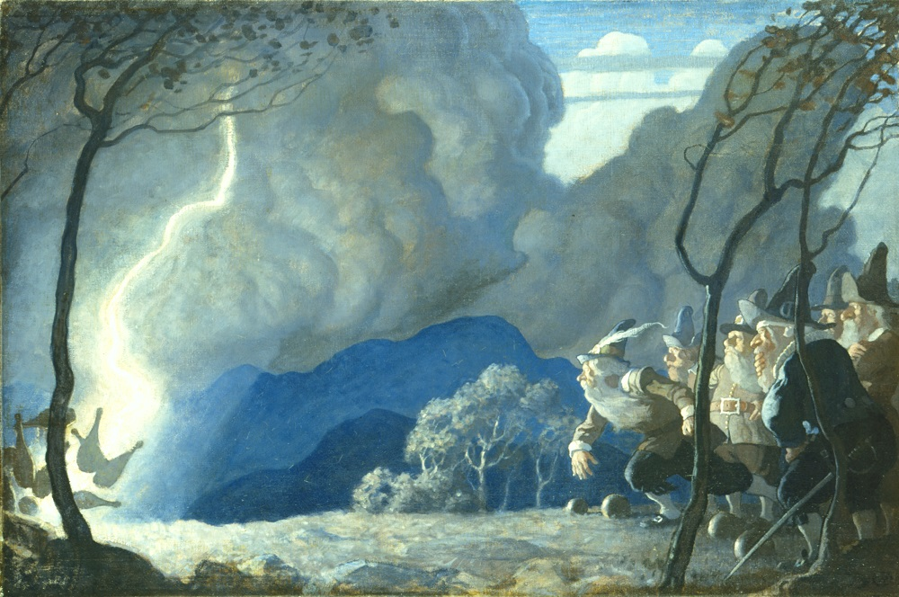 N.C. Wyeth (American, 1882-1945) Rip Van Winkle, endpaper illustration, (The Gnomes Bowling), 1921 Oil on canvas Bank of America Collection