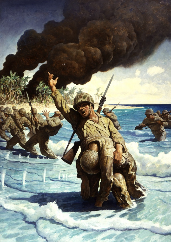 N.C. Wyeth (American, 1882-1945) The Phoenician Biremes (presentation painting), 1923 Oil on canvas board Bank of America Collection N.C. Wyeth (American, 1882-1945) Untitled (Marines landing on beach), 1944 Oil on hardboard Bank of America Collection