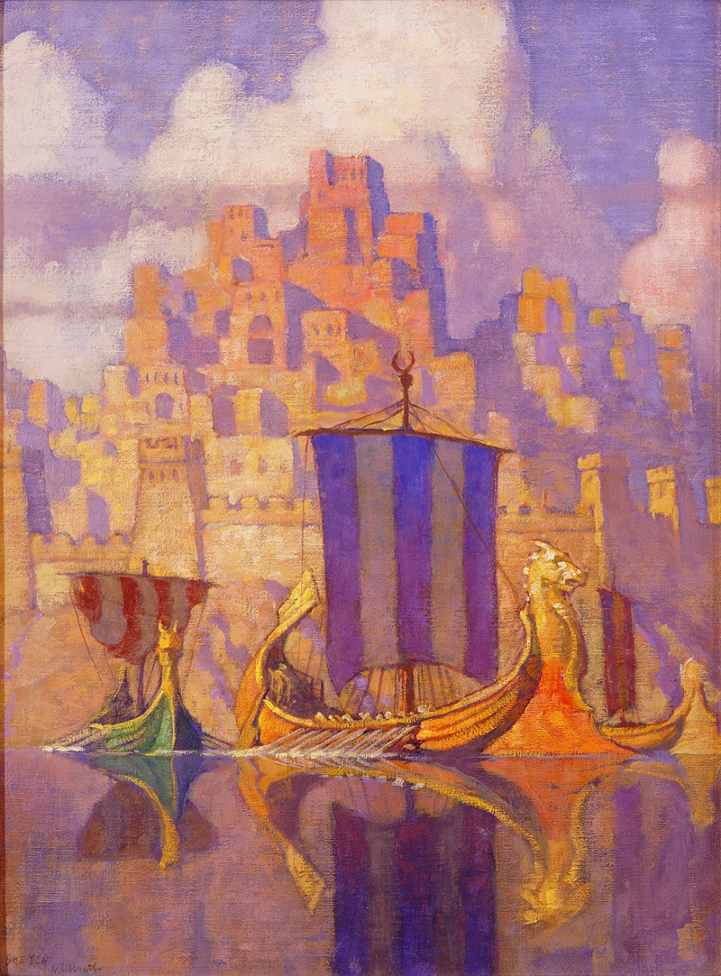 N.C. Wyeth (American, 1882-1945) The Phoenician Biremes (presentation painting), 1923 Oil on canvas board Bank of America Collection