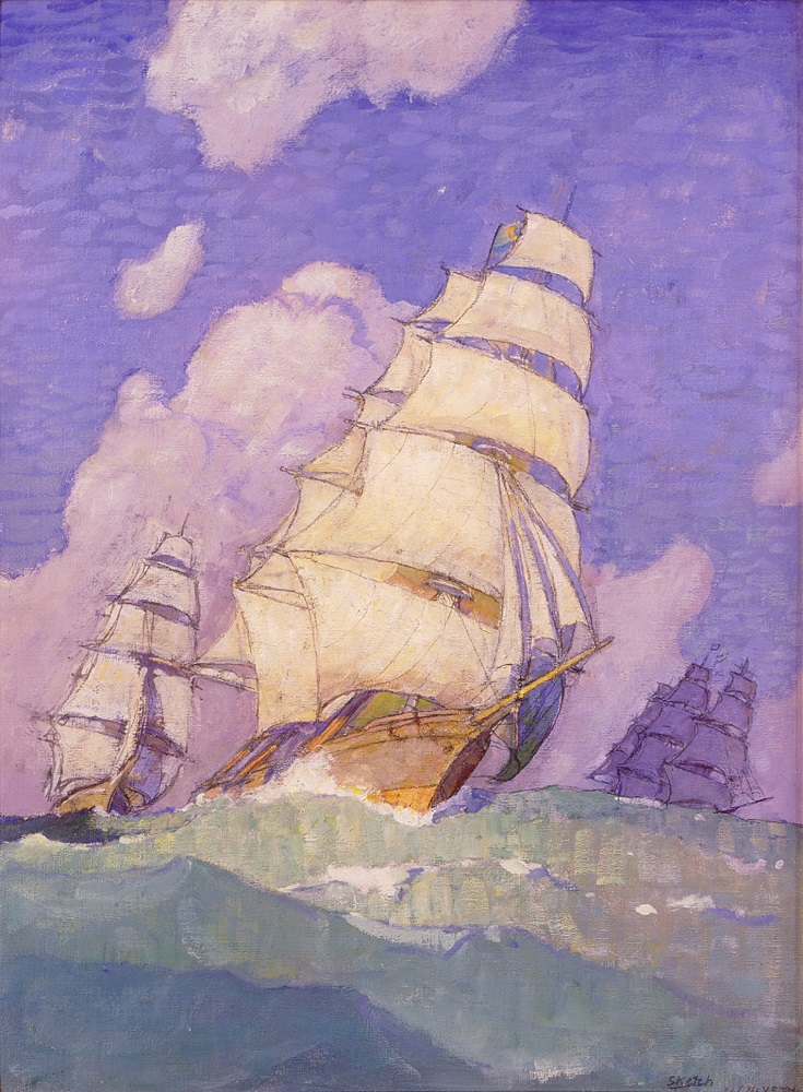 N.C. Wyeth (American, 1882-1945) The Clippers (presentation painting), 1923 Oil on canvas board Bank of America Collection