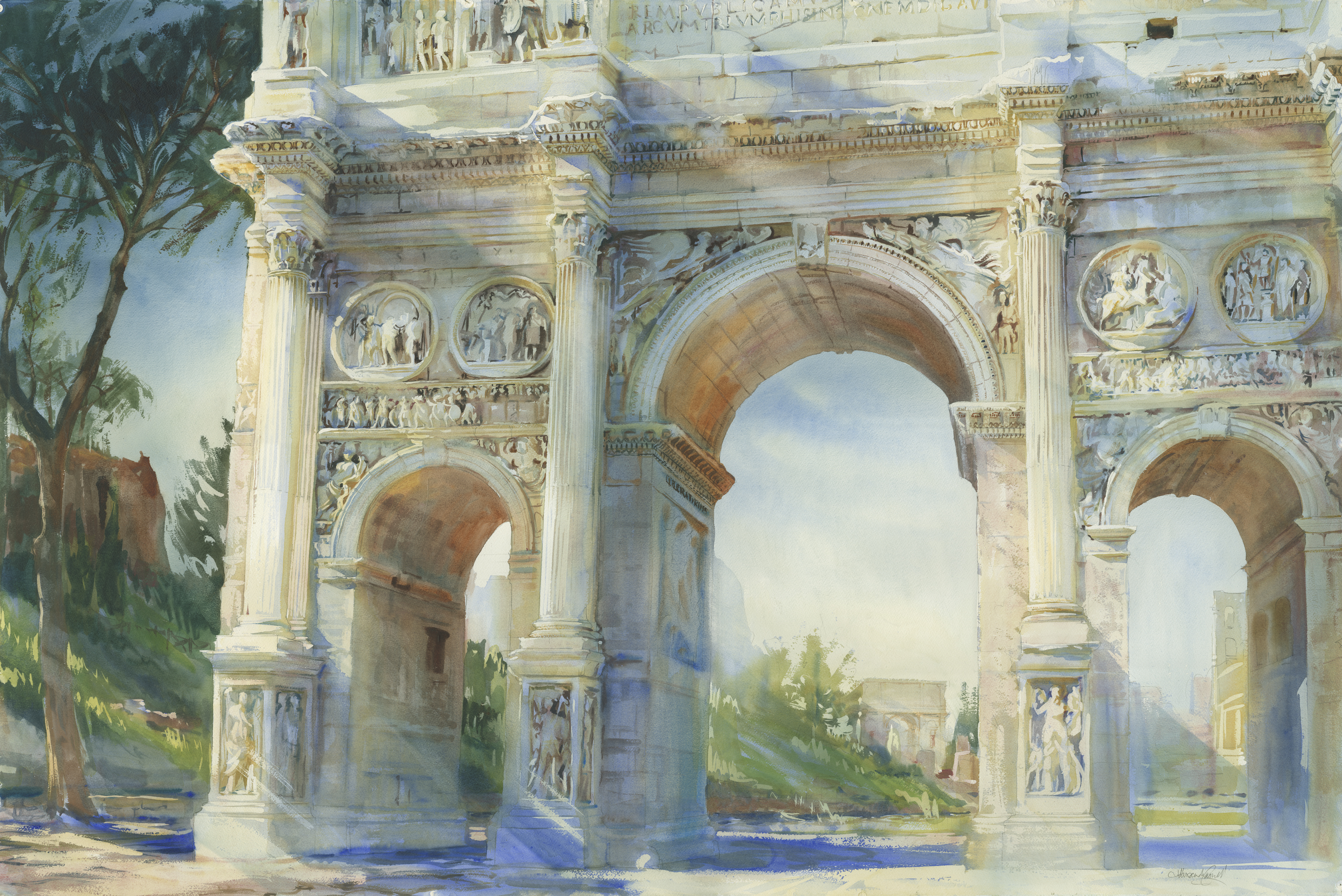 ac-13996d-174-rome-thearchofconstantine-palatinehillandarchoftitus-2012-watercoloronpaper-20x60in