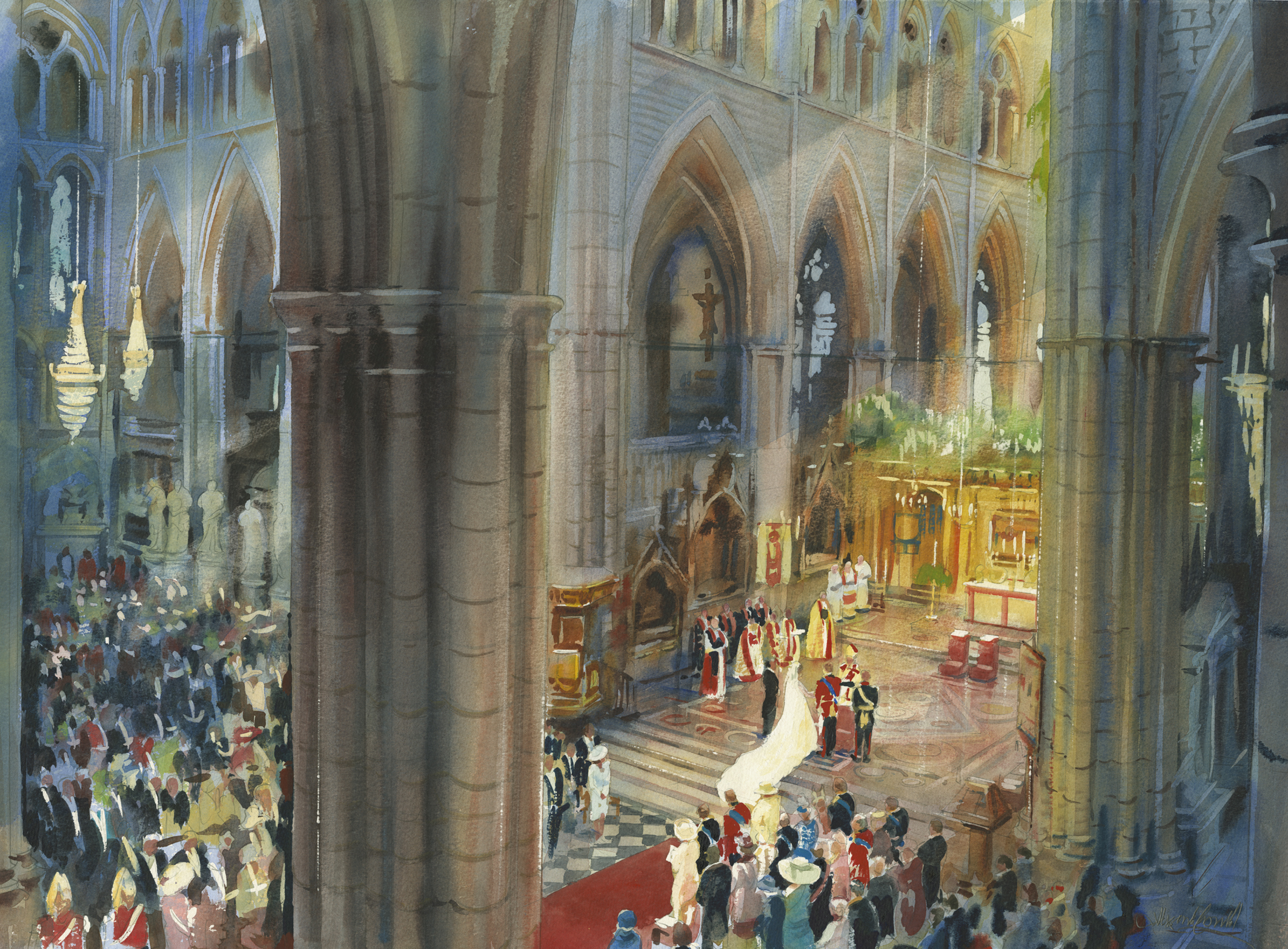 c-13996d-199-westminsterabbey-theweddingofhrhprincewilliamandmisscatherinemiddleton-2011-watercoloronpaper-22x30in-westmiinsiterabbeycollection-maquette