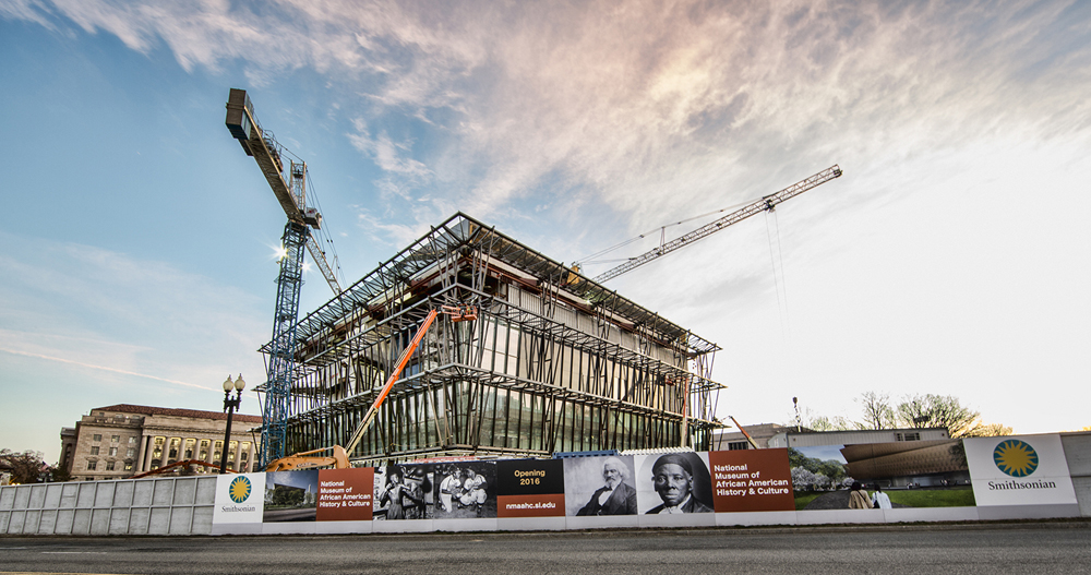 National Museum of African American History and Culture; (NMAAHC) construction site - Conststution Avenue and 14 th Street image taken on Conststution site March 18, 2015.